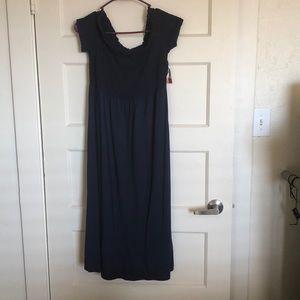 Off the Shoulder Navy Blue Maxi Dress